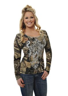 Girls With Guns Clothing Mossy Oak Break Up Country Long Sleeve Shirt with Lace Back and Silver Bling