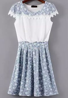 White Blue Cap Sleeve Lace Pleated Dress with White Embroidered Detail
