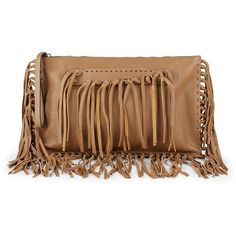 VALENTINO GARAVANI Leather Fringe Clutch Bag ($840) ❤ liked on Polyvore featuring bags, handbags, clutches, brown leather wristlet, leather fringe handbags, brown fringe purse, leather man bags and man bag