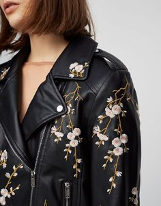 Faux leather jacket with flower embroidery - Coats and jackets - Clothing - Woman - PULL&BEAR Ukraine