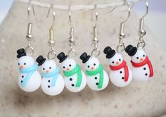 Polymer Clay Snowmen Earrings - 3 Pairs (RED BLUE GREEN) Christmas Jewellery