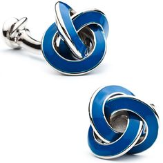 Double Ended Blue Enamel Knot Cufflinks