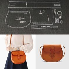 Leather Craft Clear Acrylic Shoulder Bag Handbag Pattern Stencil Template DIY #Unbranded
