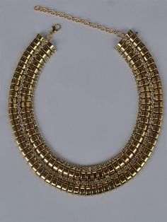 GOLD AD STONE COLLAR NECKLACE