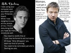 Lolololololol xD imagine if Jeremy Renner and Tom Hiddleston fought over you like this xD Jeremy Renner, Clint Barton, Hilarious, Funny, Found Out, Tom Hiddleston, Make Me Smile, I Laughed, Sexy Men