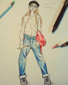 絵描きさん、のイメージ。ボーイズデニムにぶかぶかの白シャツ、汚れても、かわいい❤ #らくがき#イラスト#イラストレーション#漫画絵#ペン画#色鉛筆画 #ガーリー#ガールズファッション#ファッションイラスト #ファッションコーディネート #illustration#fashionillustration #gurley #comicillustration