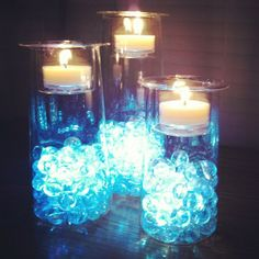 Symmetry Trio with mini LED lights under iridescent bubble beads. www.partylite.biz/stephaniejoana