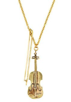 World's Tiniest Violin Necklace. @Alicia Urse world's smallest violin.. and it's playing just for you!