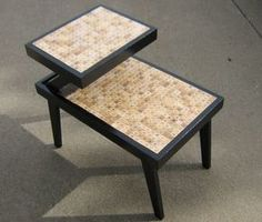scrabble tile table. knew I couldn't have been the first person to think of this.