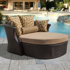 Corvus Shotiva Outdoor Furniture 2-piece Daybed with Sunbrella Fabric Cushions and Pillows
