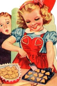 Vintage Valentine with a girl baking heart-shaped cookies. Valentine Images, My Funny Valentine, Vintage Valentine Cards, Vintage Holiday, Valentine Day Cards, Vintage Cards, Vintage Postcards, Happy Valentines Day, Valentine Cookies
