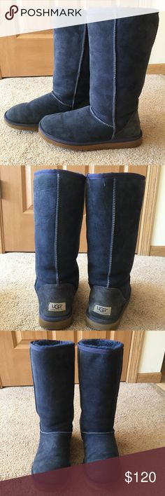 Tall Navy Blue Ugg Boots Awesome condition Tall Navy Uggs!! Only worn a handful of times so the fur is still plush on the inside! UGG Shoes Winter & Rain Boots