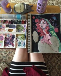 Working on this lass while visiting family. So much werks. A video will come soon right now YouTube is low priority because I have so many projects on the go. But I hope to make something soon.  #art #arte #arts #artsy #artist #myart #painting #pastel #illustration #instaart #instaartist #audraauclair #gouache by audraauclair