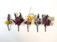 Deep Purple Boutineers - could work well to coordinate in with their blue ties. (But DEEP purple as to not make it girly! Fall Wedding, Our Wedding, Dream Wedding, Wedding Tables, Wedding Things, Wedding Stuff, Wedding Bouquets, Wedding Flowers, Wedding Planner