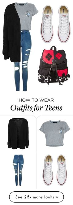 """School With A Cardigan"" by missnikki808 on Polyvore featuring New Look, Topshop and Converse"