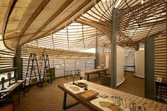 Last fall the very first International Bamboo Architecture Biennale premiered in the small village of Baoxi, China, placing eighteen permanent works by twelve international architects within the traditionally agriculture-centered town. Bamboo Roof, Bamboo Building, Bamboo Architecture, Casamance, Lighting Concepts, Bamboo Design, Roof Design, Modern Buildings, Architectural Elements