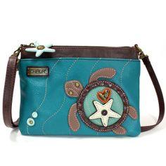 Brown Chala Womens Canvas Patch Crossbody Handbag Sea Turtle with Baby