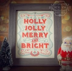 8x10 letterpress art print - Holly Jolly Merry & Bright - Vintage Red and Blue - Ornate Christmas Tree - Typography Holiday Print. $22.00, via Etsy.