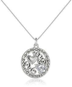 "Sterling Silver \The Ties Between Sisters Are the Strongest Bond"" Reversible Pendant Necklace with Cubic Zirconia Heart"
