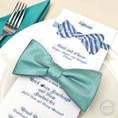 Get your dapper on with this painted bow tie wedding suite design with matching menus, table numbers, and place cards. Customize the colors to match your own style. | Wedding Invitations by CharmCat Stationery & Design