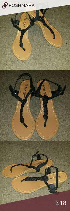 Host Pick 4/11 Sandal Wedges Buckle closure sandal wedges. Never worn. Wet Seal Shoes