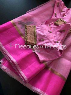 Cotton Saree Blouse Designs, Saree Kuchu Designs, Bridal Blouse Designs, Blouse Patterns, Hand Embroidery Design Patterns, Mirror Work Blouse, Maggam Work Designs, Simple Blouse Designs, Blouse Styles