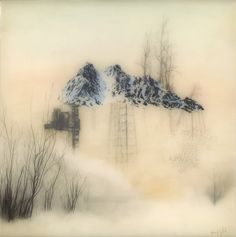 Brooks Salzwedel: Structured Mountain, 2013, graphite, tape, colored pencil, resin on panel