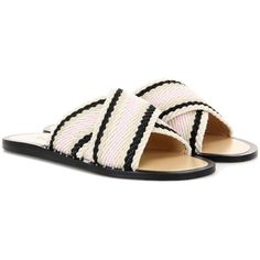 Rag & Bone Keaton Slide Slip-on Sandals found on Polyvore featuring shoes, sandals, beige, flat, beige flat sandals, flat sandals, slip on shoes, colorful sandals and multi colored sandals