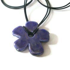 blue flower necklace ceramic pendant necklace daisy by jcudesigns, £7.50