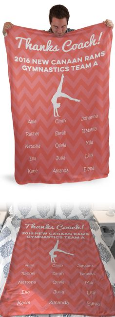 Thank you gymnastics coach for everything they've done for you this year by giving them a gift they'll love! Our Sherpa fleece blankets are super cozy and personalized, which makes them a great gift from the entire team! Cheer Coach Gifts, Cheer Coaches, Cheer Gifts, Cheer Mom, Dance Team Gifts, Dance Teacher Gifts, Cheer Dance, Gymnastics Coaching, Gymnastics Gifts