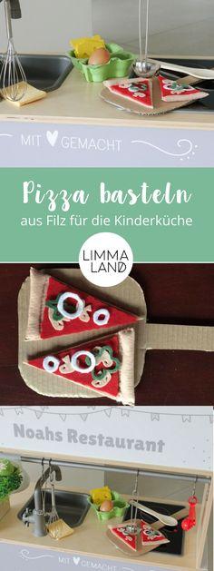 Nähen und basteln für die Spielküche: Pizza das Lieblingsessen vieler Kinder sollte in der Kinderküche nicht fehlen und lässt sich aus Filz leicht basteln und nähen. Genaue Anleitung auf unserem Blog!