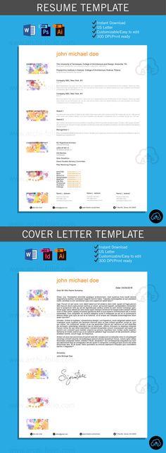 Resume // Watercolor 1 Theme //Customizable//Professional Architecture/Graphic  Design