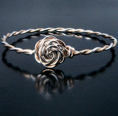 Gold & Silver Wire Wrapped Bracelet with Rose or by seattlechic, $99.00