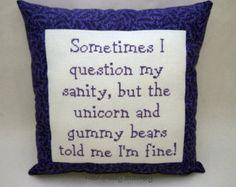Funny Cross Stitch Pillow Purple Pillow Sanity by NeedleNosey Cross Stitching, Cross Stitch Embroidery, Embroidery Patterns, Funny Embroidery, Cross Stitch Designs, Cross Stitch Patterns, Stitch Ears, Stitch Crochet, Filet Crochet