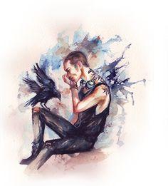 RonanLynch by AkiMao the raven boys fanart. Saga, Ronan And Adam, Blue Raven, Raven Art, Blue Sargent, Raven King, Maggie Stiefvater, Fanart, Art Mural