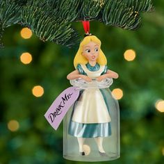 """Mickey Fix highlights a beautiful Alice in Wonderland """"Drink Me"""" ornament. Curious? Check it out! http://mickeyfix.com/alice-in-wonderland-ornament/"""