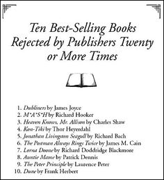 10 best-selling books rejected more than 20 times.