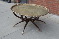 Large Vintage Brass Tray Coffee Table On Midcentury Folding Base 5