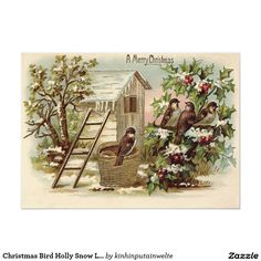 Christmas Bird Holly Snow Ladder Harvest 5x7 Paper Invitation Card