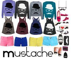 """Mustache"" by ekreschey64 ❤ liked on Polyvore"