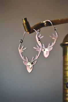 Deer silhouette earrings, Woodland earrings,Metalsmith creoles,Antlers earrings,Stag earrings,Copper deer earrings,Nature inspired jewelry