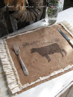 "Burlap Table Placemats   ""Cow  Farmer's Market"" ..... by SweetMagnoliasFarm, 13.50"