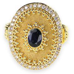 Diamond framed Sapphire Vasilissa Ring