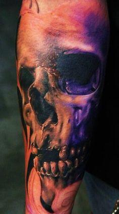 Photo realistic skull by David Sivak  #InkedMagazine