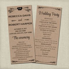 Rustic Wedding Program, Ceremony Program - PRINTABLE files ...