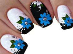 Flor azul Blue Nails, My Nails, Nail Art Designs, Design Art, Stamping Nail Art, Cool Nail Art, Mani Pedi, Flower Designs, Beaded Necklace