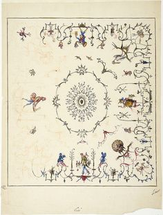 Proposal for ceiling decorations with the four seasons and elements, possibly for the menagerie, Versailles/Förslag till plafond med årstide...
