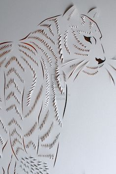 Tiger Hand Cut Paper & Acrylic, by Lisa Rodden Kirigami, Origami Paper, Paper Quilling, Diagrammes Origami, Folded Book Art, Book Folding, Book Sculpture, Paper Sculptures, Papier Diy