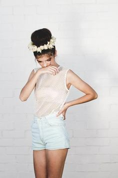 flower crown, bun, shorts, mesh