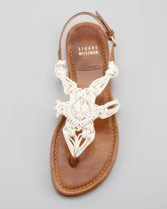 Stuart Weitzman Corded Thong Flat Sandal, Saddle